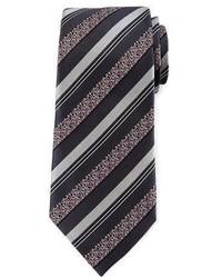 Ermenegildo Zegna Satin Floral Striped Tie Gray
