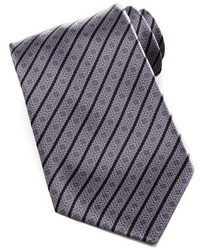 Stefano Ricci Square Medallion Stripe Silk Tie Gray