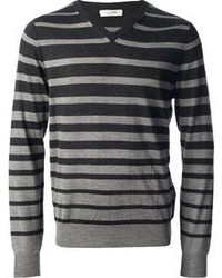 Charcoal Horizontal Striped V-neck Sweater