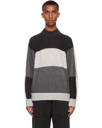 Z Zegna Grey Cashmere Striped Sweater