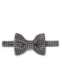 Tom Ford Pre Tied Houndstooth Silk Blend Bow Tie