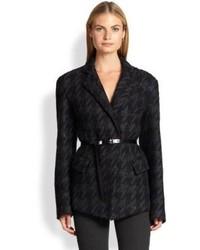 Donna Karan Belted Houndstooth Jacket