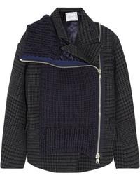 Sacai Wool Blend Paneled Tweed Jacket