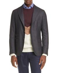 Eleventy Trim Fit Check Wool Sport Coat
