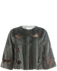 Valentino Mink Fur Cropped Jacket With Embellisht