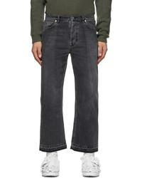 Valentino Black Beige Dual Material Jeans