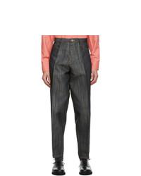 Issey Miyake Men Black Flat Jeans