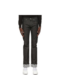 Versace Black Greca Slim Fit Jeans