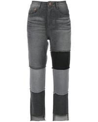 Sjyp High Waist Patch Jeans