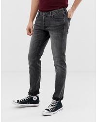 Jack & Jones Intelligence Tapered Slim Fit Jeans In Washed Black