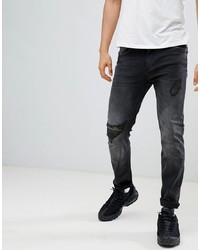 YOURTURN Slim Jeans In Black With Camo Knee Abrasion