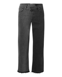 Monse Two Tone Distressed Mid Rise Straight Leg Jeans