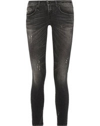 R 13 R13 Kate Distressed Low Rise Skinny Jeans Charcoal