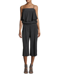Brunello Cucinelli Silk Blend Culotte Jumpsuit Dark Gray