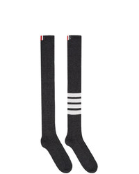 Thom Browne Grey 4 Bar Over The Knee Socks