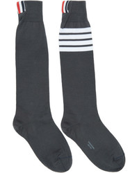 Grey ribbed knee high four bar socks medium 5082186