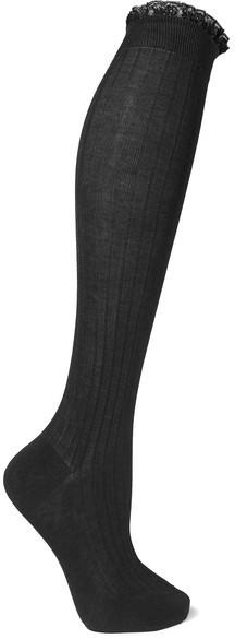 05e15719a Prada Prada - Lace-trimmed Ribbed Cotton Knee Socks - Dark gray ...