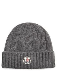 Moncler Cable Knit Wool Beanie Grey