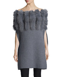 Roberto Cavalli Fur Trim Convertible Neck Knit Poncho