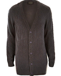 River Island Grey Fluffy Knitted Longer Length Cardigan