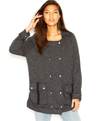 Free People Notched Lapel Knit Slouchy Peacoat Anorak