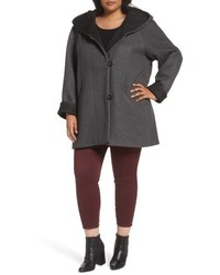 Plus size hooded double face knit coat medium 4953264