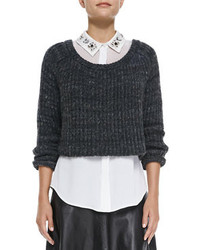 Cropped ribbed knit sweater medium 97550