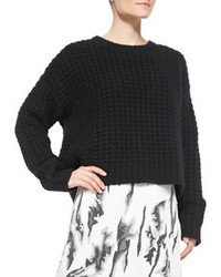 Elle Sasson Chiara Waffle Rib Cropped Sweater
