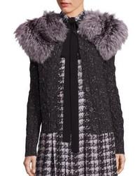 Michael Kors Michl Kors Collection Detachable Fur Collar Cable Knit Cardigan
