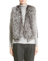 Wool silk cashmere knit vest with genuine fox fur front medium 5209125