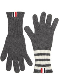 Thom Browne Cashmere Knit Gloves W Stripes