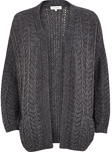 River Island Dark Grey Chunky Zig Zag Knit Cardigan | Where to buy ...