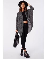 Missguided Blyth Pleat Shoulder Knit Cardigan Grey