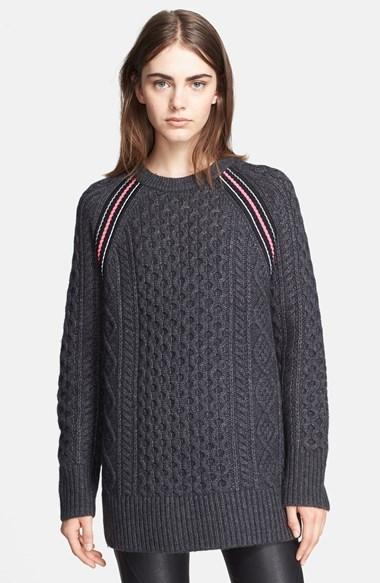 Alexander Wang T By Stripe Raglan Seam Aran Knit Sweater Tunic