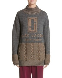 Marc Jacobs Logo Knit Oversized Turtleneck Sweater
