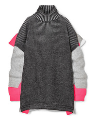 Balenciaga Oversized Layered Wool Blend Turtleneck Sweater