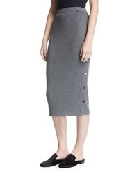 St. John Collection Ribbed Knit Pencil Skirt W Button Placket