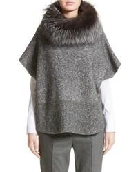 Fabiana Filippi Pebble Tweed Knit Poncho With Genuine Fox Fur Collar