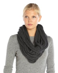 Wyatt Charcoal Wool And Cashmere Knit String Car Wash Infinity Scarf