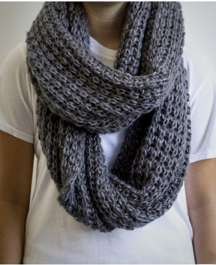 Paula Bianco Chunky Knit Infinity Scarf In Charcoal Where To Buy