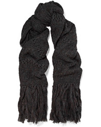 Isabel Marant Dylan Oversized Fringed Open Knit Scarf Charcoal