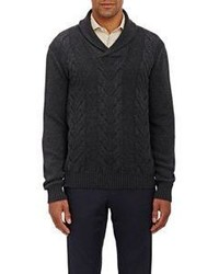 Cable knit shawl sweater grey medium 361038