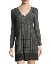Knitted geometric ribbed dress charcoalsteel medium 318347
