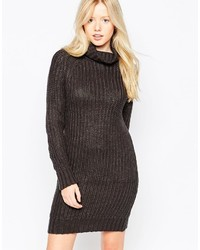 Brave Soul High Neck Sweater Dress With Long Sleeves