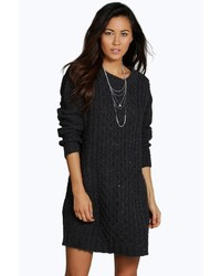 Boohoo Caitlin Cable Knitted Nep Jumper Dress