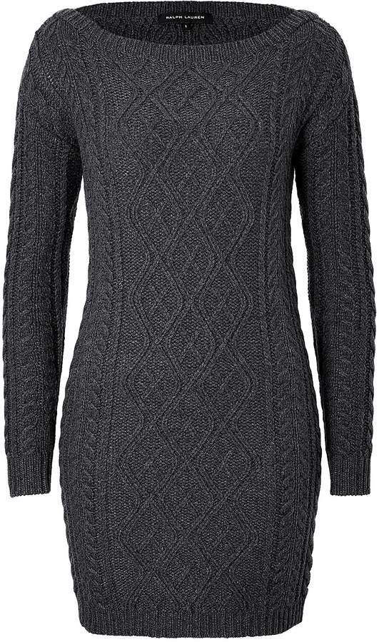 Ralph Lauren Black Label Cashmere Cable Knit Sweater Dress