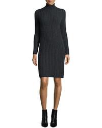 Neiman Marcus Cashmere Collection Cashmere Cable Knit Turtleneck Dress