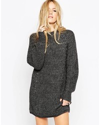 Asos Collection Chunky Sweater Dress With Cable Detail And Grown On Neck