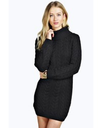 Boohoo Tiffany Cable Knit Roll Neck Jumper Dress
