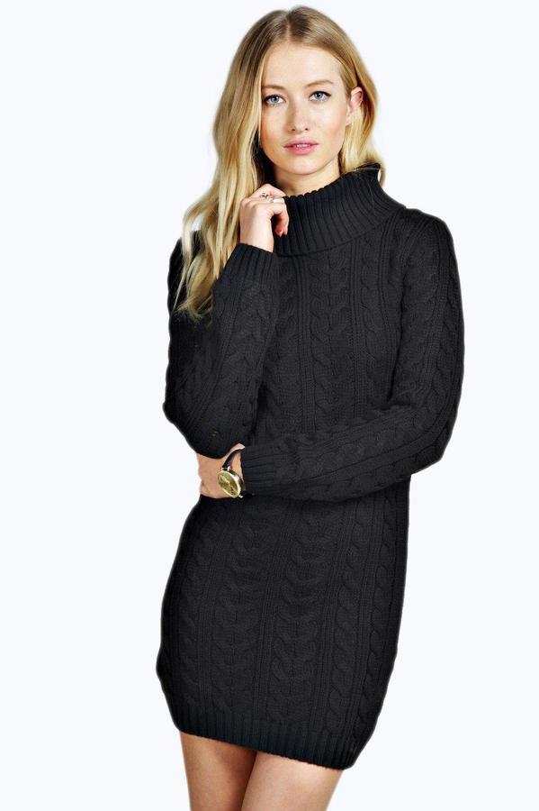fc149c94f598 Boohoo Tiffany Cable Knit Roll Neck Jumper Dress, $26 | BooHoo ...
